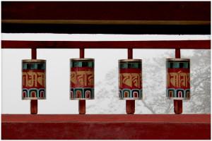 Prayer rolls at Bhutia Busty Gompa (Monastery)