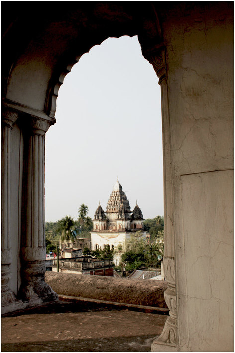 Puthia temple complex in Bangladesh, on top of a temple