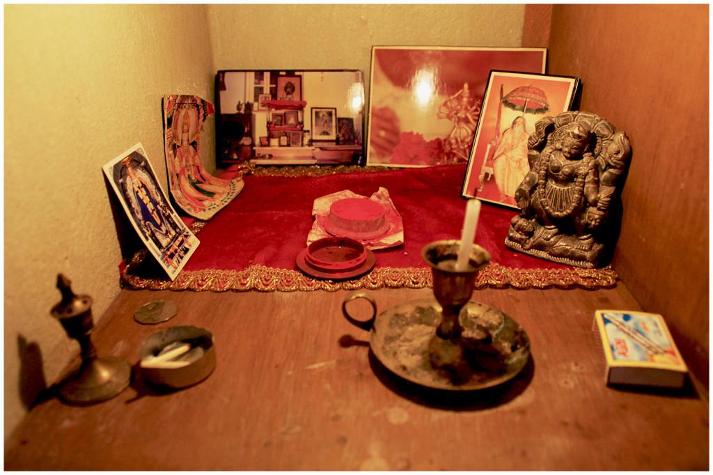 Altar at Airbnb home in Santiniketan, India