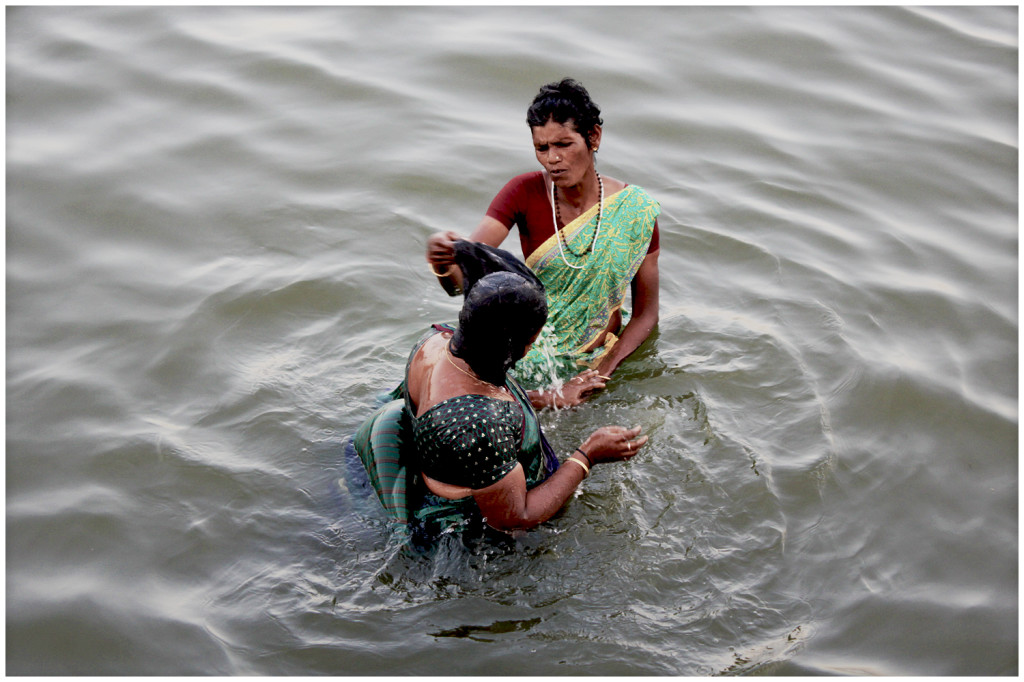 Bathing in the Ganga river.