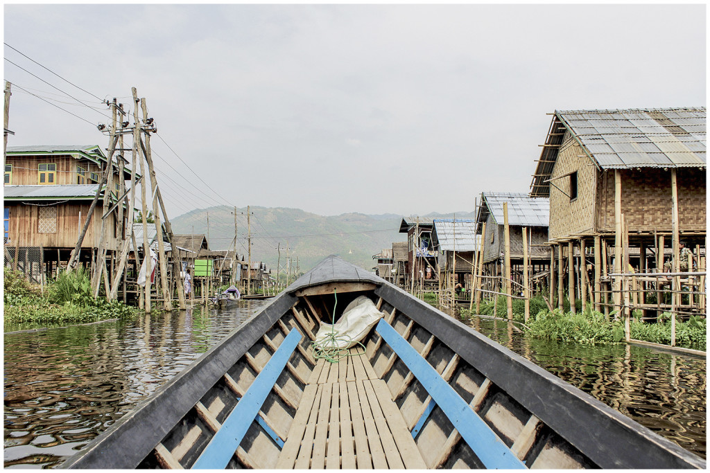 Our boat on Inle lake canals