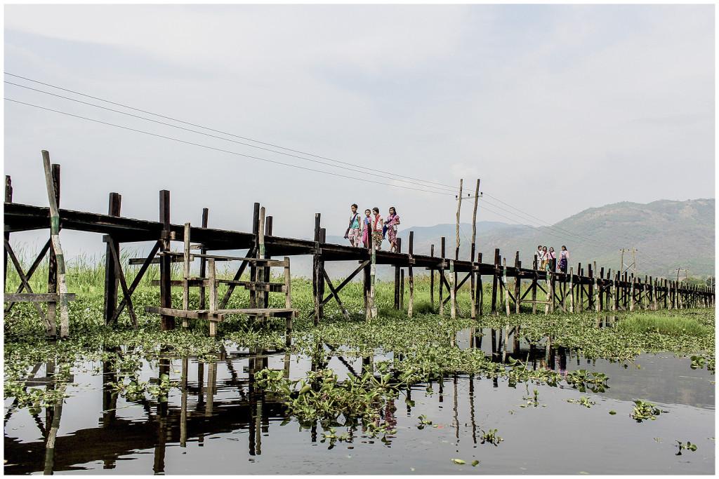 Bridge near the village at Inle Lake