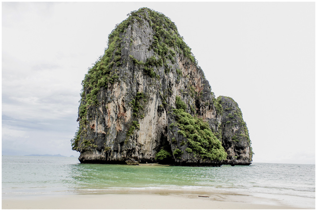 Limestone rock in the middle of the ocean