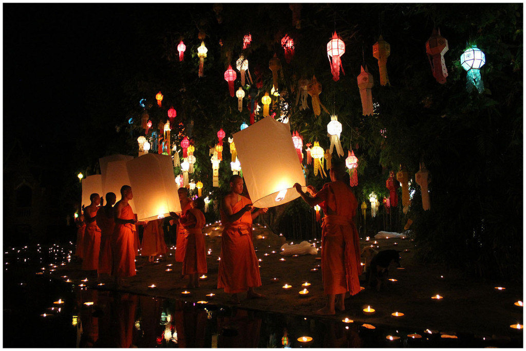 Releasing lanterns for Loy Krathong