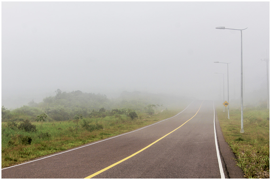 The road up to Bokor Hill Station turns into mist