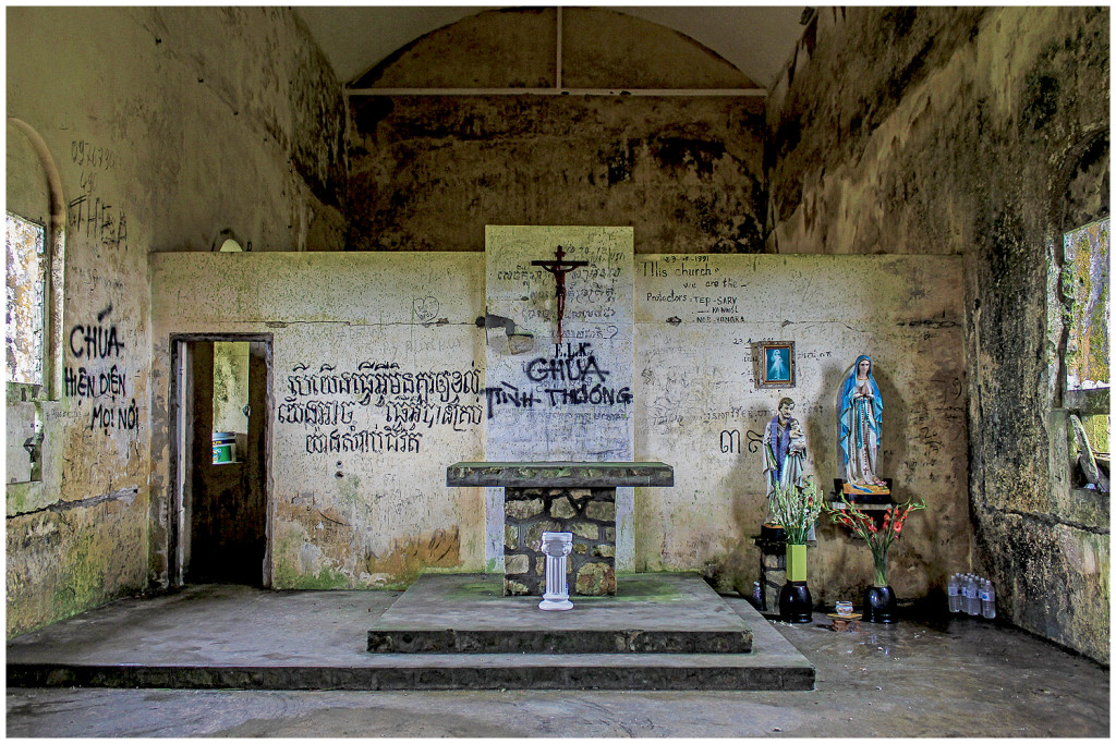 Inside the church on Bokor Hill